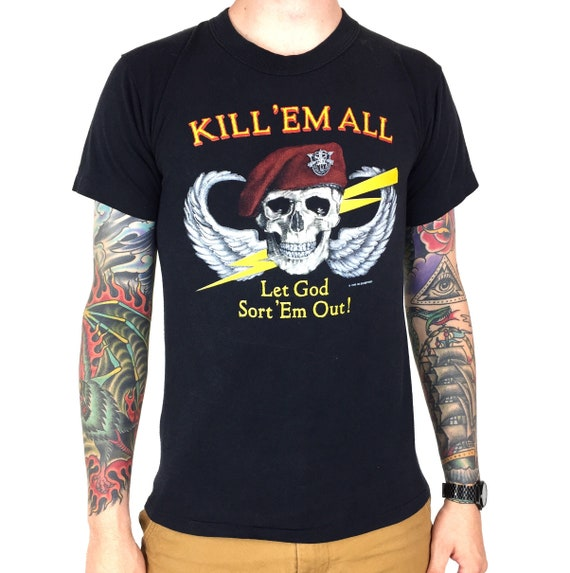 Rare Vintage 80s 1986 86 Kill Em All Let God Sort Em Out Military Army Vietnam single stitch graphic tee t-shirt shirt - Size S-M