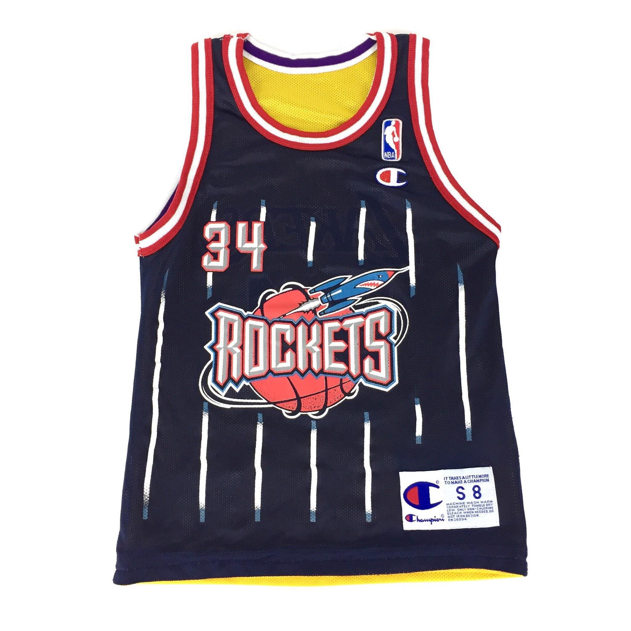 4746a5dea187 Rare Vintage 90s Champion NBA Houston Rockets Los Angeles Lakers Hakeem  Olajuwon Shaq O Neal reversible basketball jersey - Size Youth S 8