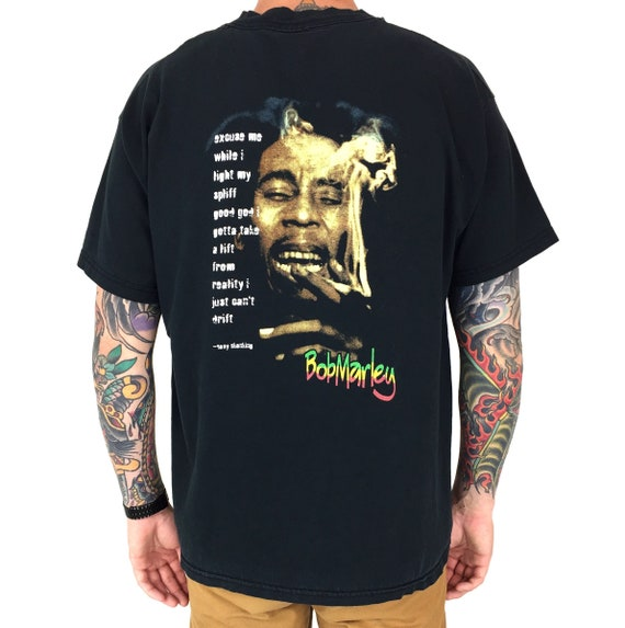 Vintage 90s Bob Marley Easy Skanking quote double sided reggae band tour rap graphic tee t-shirt shirt - Size XL