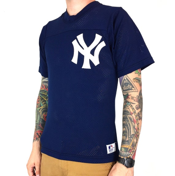 Vintage 90s Sand Knit MLB New York Yankees blue stitched sewn mesh baseball jersey - Size S