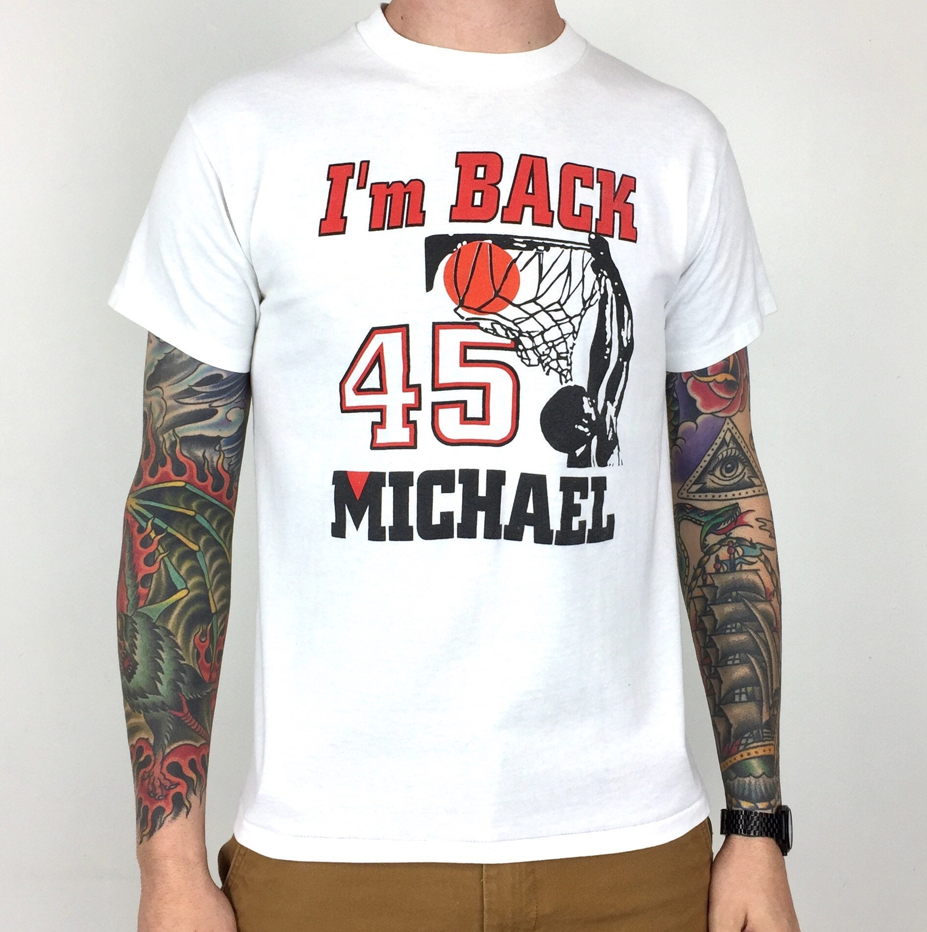 1c5ebfb1b436 Vintage 90s NBA Chicago Bulls Michael Jordan  45 I m Back white single  stitch basketball graphic tee t-shirt shirt - Size S-M
