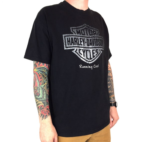 Vintage 90s 1999 99 Harley Davidson Great Lakes Michigan Made in USA moto motorcycle graphic tee t-shirt shirt - Size XL