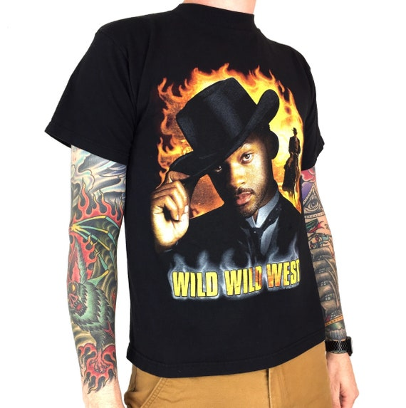 Vintage 90s 1999 99 Wild Wild West Will Smith Western sci fi comedy movie promo promotional graphic tee t-shirt shirt - Size S-M