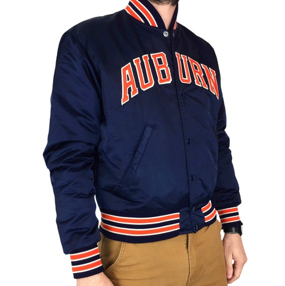 Vintage 80s Starter NCAA Auburn University Tigers Made in USA blue button up satin bomber college jacket - Size S