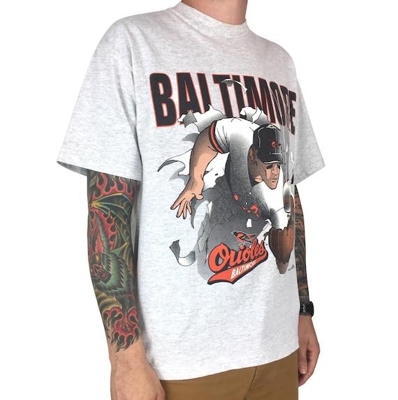 Vintage 90s MLB Baltimore Orioles break cut through Nutmeg Mills single stitch baseball graphic tee t-shirt shirt - Size L