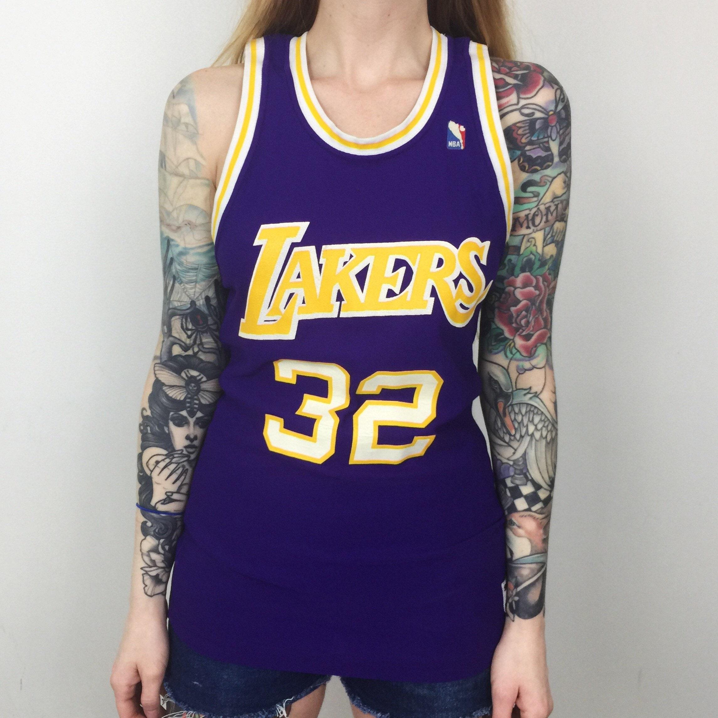33aec5930 Rare Vintage 80s NBA LA Los Angeles Lakers Magic Johnson  32 purple  MacGregor Sand Knit basketball jersey - Size S