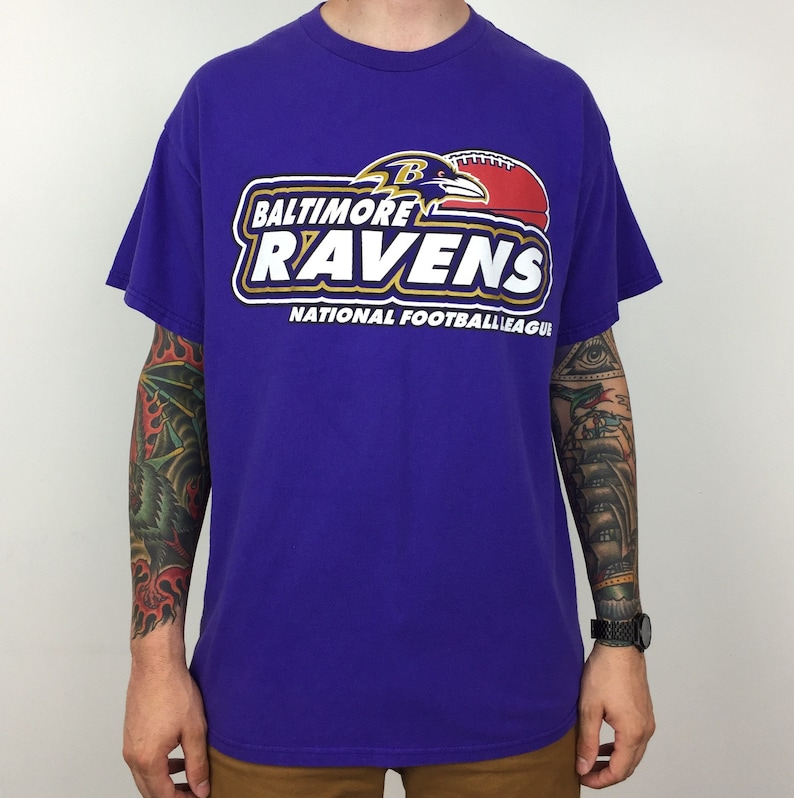 ffc60e5d8 Vintage 90s NFL Baltimore Ravens Logo Athletic football graphic tee t-shirt  shirt - Size XL