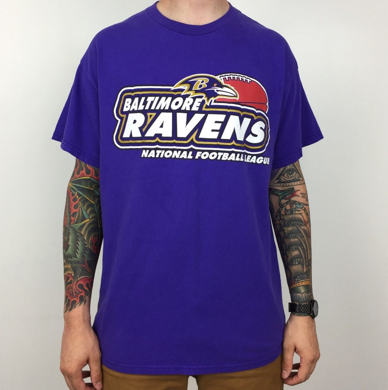 5526fb852 Vintage 90s NFL Baltimore Ravens Logo Athletic football graphic tee t-shirt  shirt - Size XL