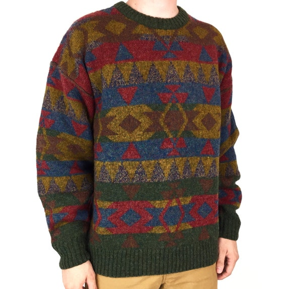 Vintage 80s Authentic Sport 100% Pure Shetland Wool navajo aztec mohair fisherman knit pullover sweater - Size L