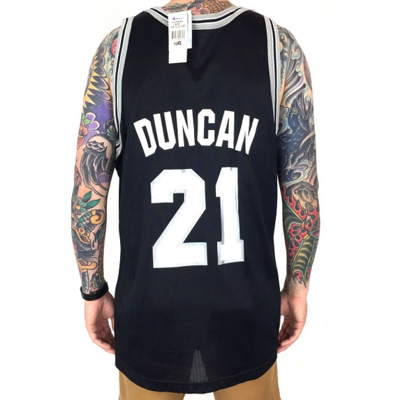 Rare Deadstock NWT Vintage 90s Champion NBA San Antonio Spurs Tim Duncan #21 black basketball jersey - Size 48 / XL