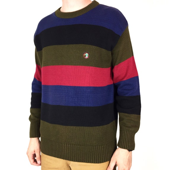 Vintage 90s Duck Head color block fisherman striped embroidered Made in USA waffle cable knit pullover sweater - Size M-L