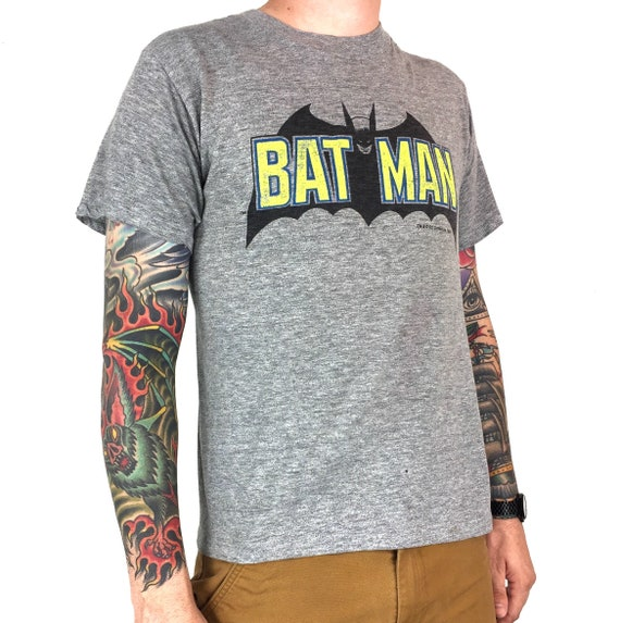 Rare Vintage 1964 Copyright DC Comics Batman movie promo promotional single stitch Made in USA graphic tee t-shirt shirt - Size S-M