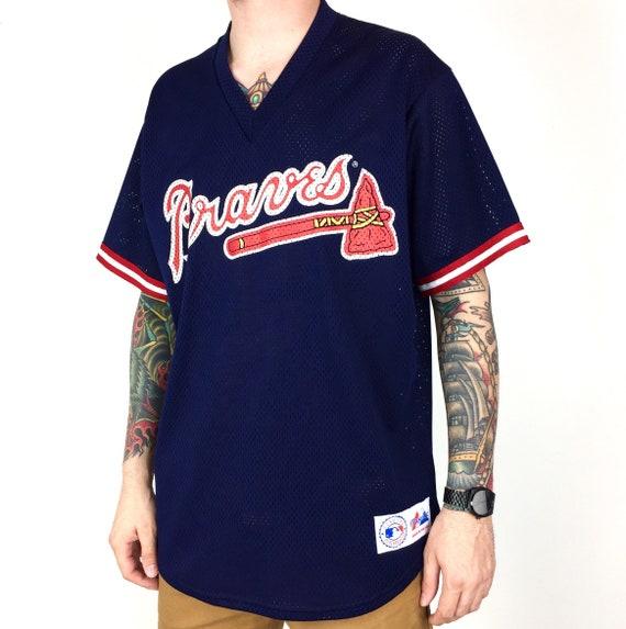 Vintage 90s MLB Atlanta Braves Majestic Made in USA navy blue mesh baseball jersey - Size L