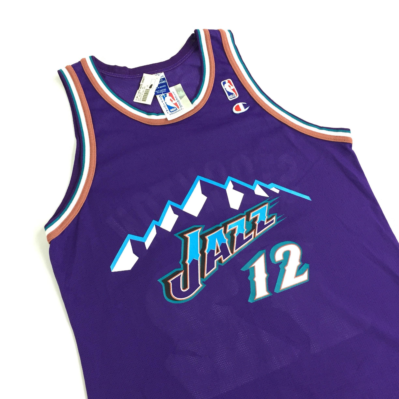 Rare Deadstock NWT Vintage 90s Champion NBA Utah Jazz John Stockton ... 745768d95