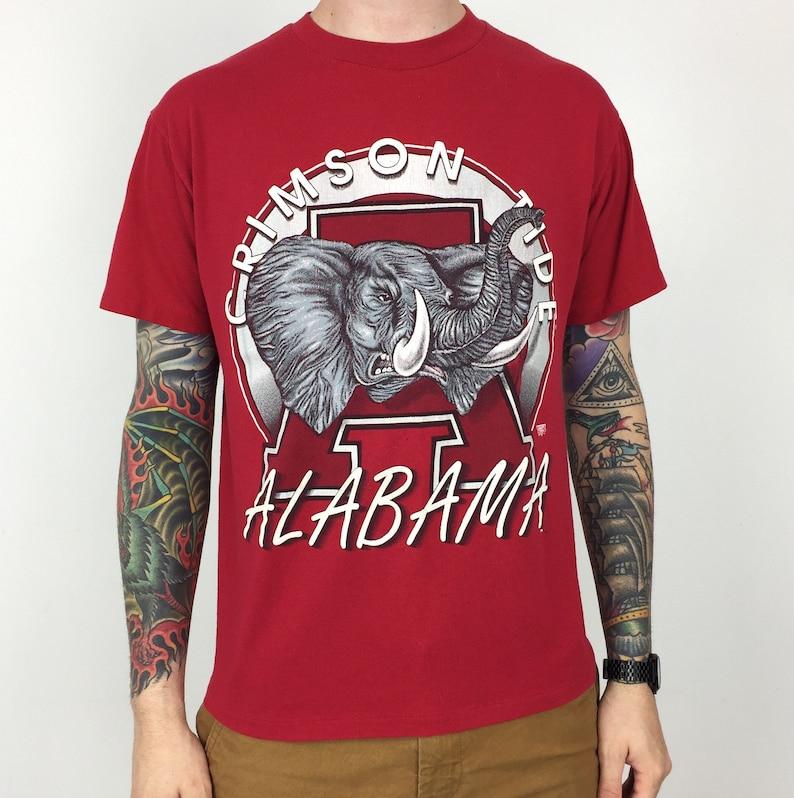 Vintage 90s NCAA University of Alabama Crimson Tide single stitch college graphic tee t shirt shirt Size M