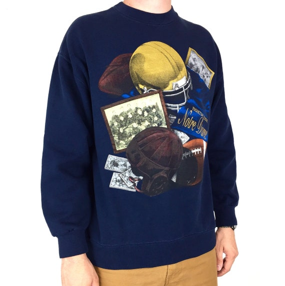 Vintage 90s NCAA University of Notre Dame Fighting Irish Made in USA pullover crewneck college graphic sweatshirt - Size L