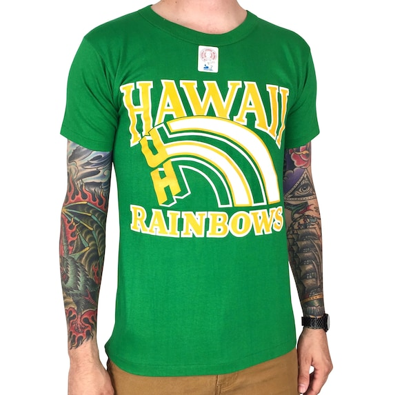 Rare Deadstock Vintage 80s Starter NCAA UH University of Hawaii Rainbows green single stitch college graphic tee t-shirt shirt - Size S