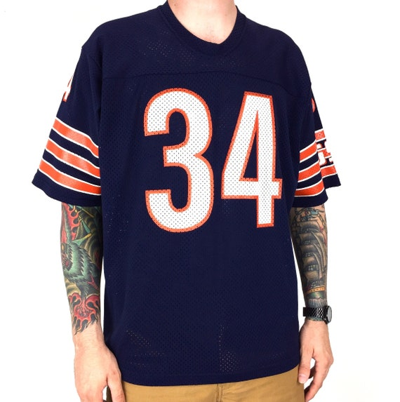 Rare Vintage 80s Sand Knit NFL Chicago Bears Walter Payton #34 Sweetness Made in Usa football jersey - Size XL-XXL