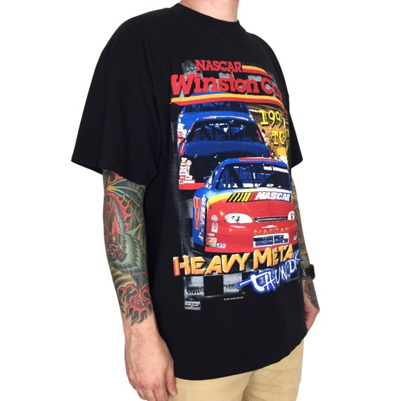 Vintage 90s 1999 99 NASCAR Winston Cup Series Heavy Metal Thunder Tour double sided racing graphic tee t-shirt shirt - Size XXL