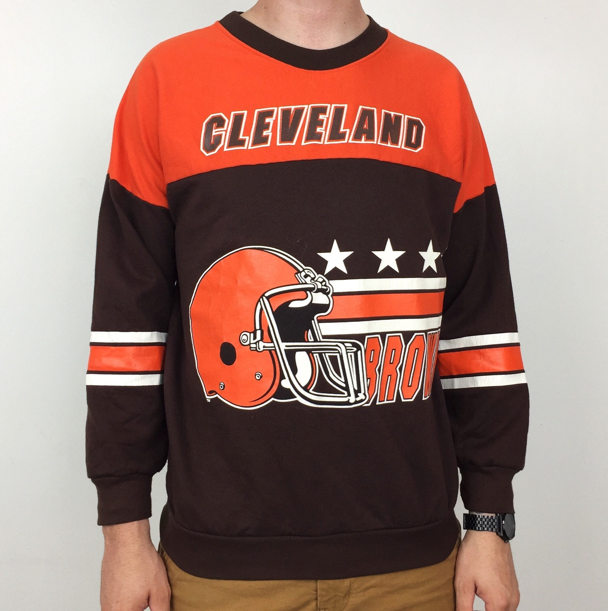 a4a56c03 Vintage 80s Garan NFL Cleveland Browns all over print Made in USA two tone  pullover crewneck football graphic sweatshirt - Size M