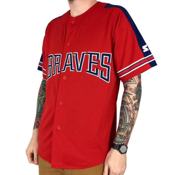 Vintage 90s Starter MLB Atlanta Braves red stitched sewn button up baseball jersey - Size L