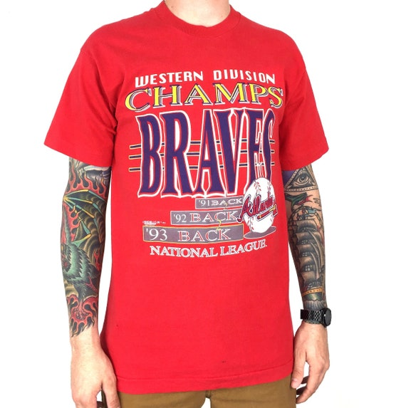 Vintage 90s 1993 93 MLB Atlanta Braves Back to Back to Back Western Division Champs Made in USA baseball graphic tee t-shirt shirt - Size M