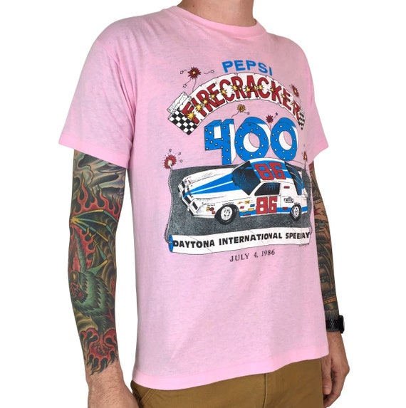 Vintage 80s 1986 86 NASCAR Daytona Pepsi Firecracker 400 single stitch 50/50 Made in USA race racing graphic tee t-shirt shirt - Size M