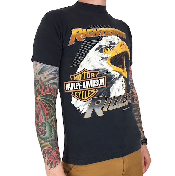 Vintage 80s Harley Davidson Righteous Rider Speed Limit Seventy single stitch motorcycle graphic tee t-shirt shirt - Size S-M