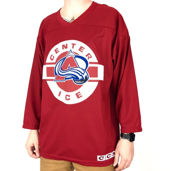 Vintage 90s NHL Colorado Avalanche Center Ice CCM Air Knit mesh Made in Canada hockey jersey - Size L