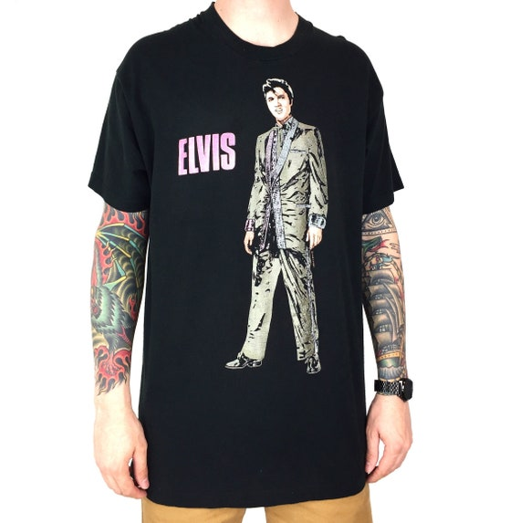 Vintage 80s 1989 89 Elvis Presley The King of rock and n roll band tour single stitch graphic tee t-shirt shirt - Size XL-XXL