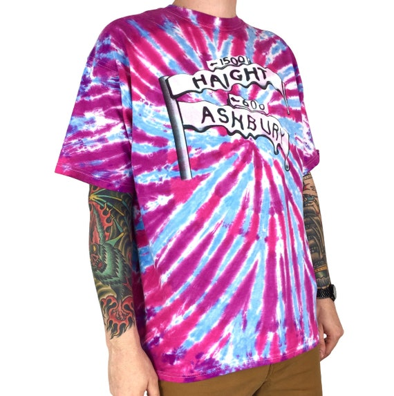 Vintage 90s Haight Ashbury San Francisco tie dye hippie Grateful Dead Janis Joplin travel souvenir graphic tee t-shirt shirt - Size XXL