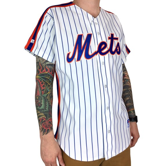 Vintage 90s MLB New York Mets Russell Athletic Diamond Collection Authentic Made in USA pinstripe stitched baseball jersey - Size 44 / L