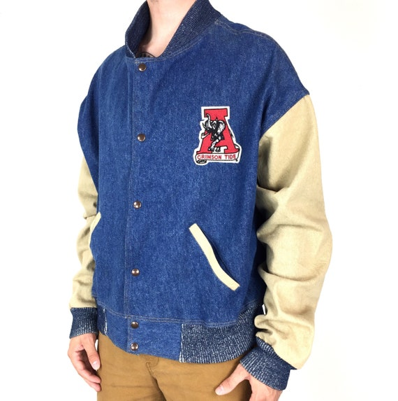 Vintage 80s NCAA University of Alabama Crimson Roll Tide The Jacket Factory college embroidered blue jean denim jacket - Size 2XL-3XL