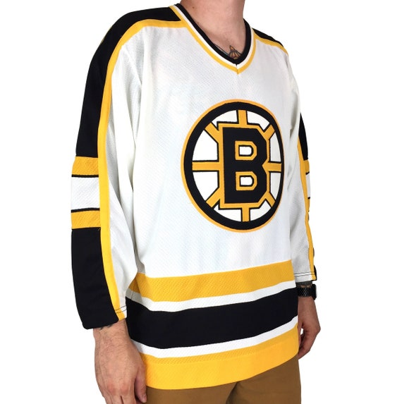Deadstock Vintage 90s CCM NHL Boston Bruins stitched sewn hockey jersey - Size M