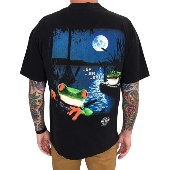 Vintage 90s 1995 95 Anheuser Busch Budweiser Frogs Stanley DeSantis double sided beer promotional graphic tee t-shirt shirt - Size L