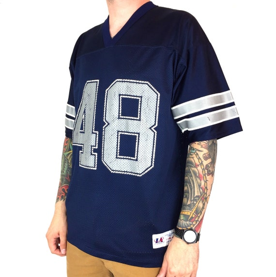 Vintage 90s NFL Dallas Cowboys Daryl Moose Johnston #48 Logo Athletic navy blue Made in USA football jersey - Size L