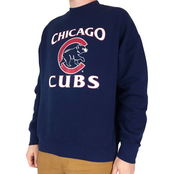 Vintage 90s MLB Chicago Cubs navy blue pullover crewneck baseball graphic sweatshirt - Size XL