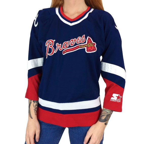 Vintage 90s Starter MLB Atlanta Braves stitched sewn button up baseball hockey jersey - Size Youth / Womens S-M