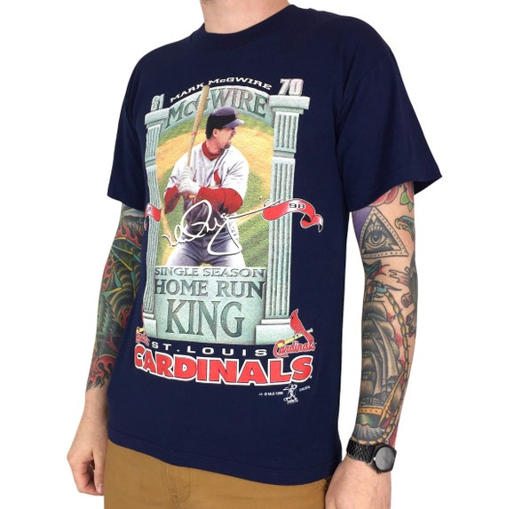 Vintage 90s 1998 98 MLB Mark McGwire Home Run King St Louis Cardinals baseball graphic tee t-shirt shirt - Size M