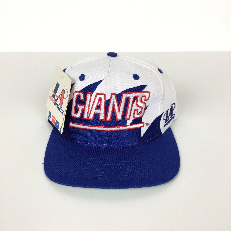 416d49b8d24 Rare Deadstock Vintage 90s Logo Athletic NFL NY New York Giants Twill  Sharktooth shark tooth football snapback hat