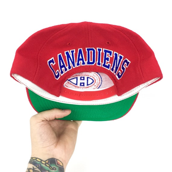 Deadstock Vintage 90s NHL Montreal Canadiens America Needle Blockhead spell out hockey snapback hat