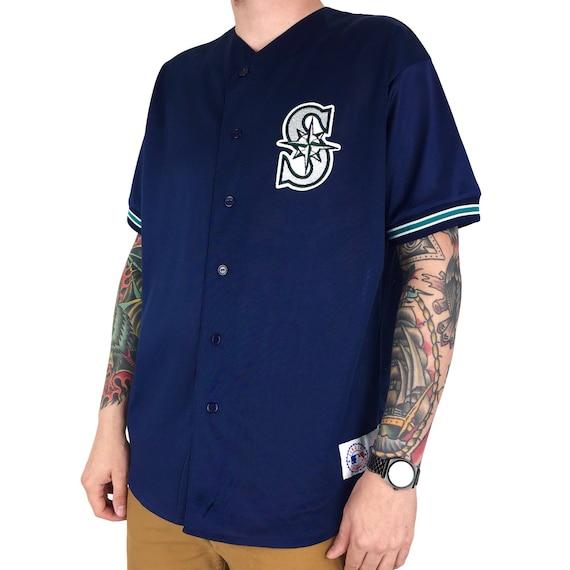 Vintage 90s MLB Seattle Mariners Majestic stitched sewn button up baseball jersey - Size XL
