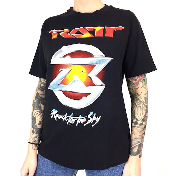 Rare Vintage 80s 1989 89 Ratt Reach for the Sky Tour single stitch rock and n roll band concert graphic tee t-shirt shirt - Size S