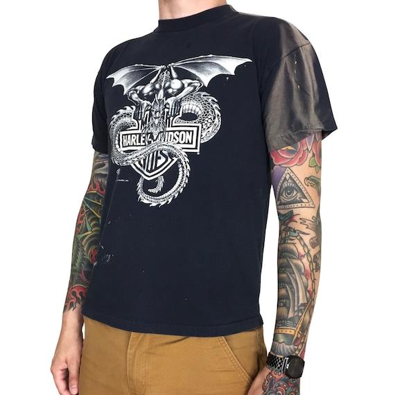 Vintage 80s 1988 88 Harley Davidson Dragon Holoubek single stitch motorcycle graphic tee t-shirt shirt - Size M