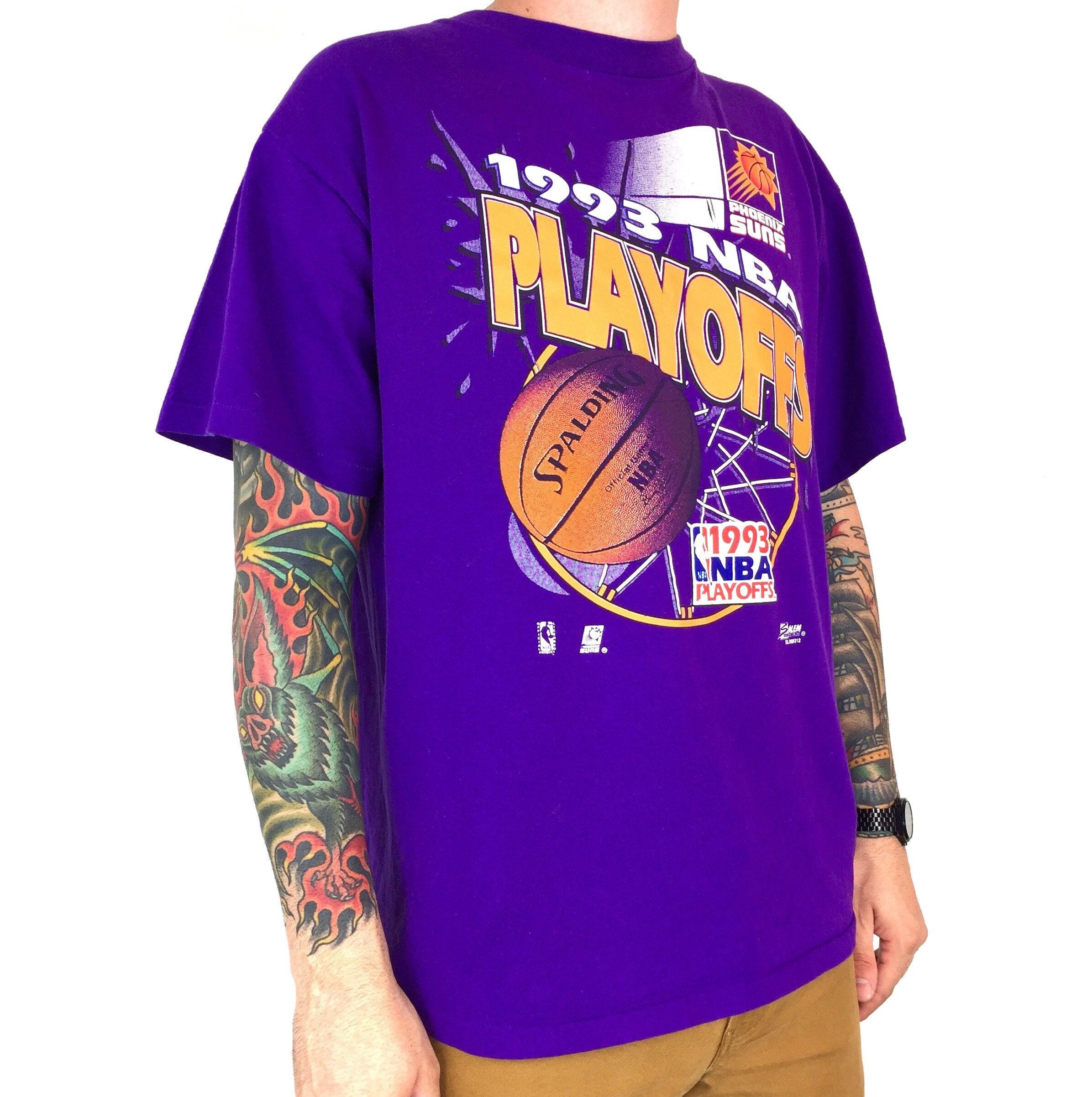 Vintage 90s 1993 93 Nba Phoenix Suns Playoffs Salem Sportswear Single Stitch Made In Usa Basketball Graphic Tee T-shirt Shirt - Size L-xl Unisex Tshirt