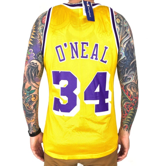Rare Deadstock NWT Vintage 90s Champion NBA LA Los Angeles Lakers Shaq Shaquille O'Neal basketball jersey - Size 40 / M