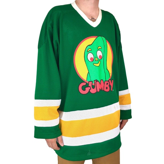 Rare Vintage 90s 1996 96 Gumby Art Clokey cartoon TV show Made in USA promo promotional hockey jersey - Size XL