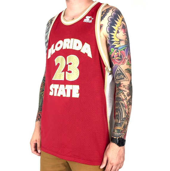 Vintage 90s Starter NCAA FSU Florida State University James Collins #23 college basketball jersey - Size 52 / XL