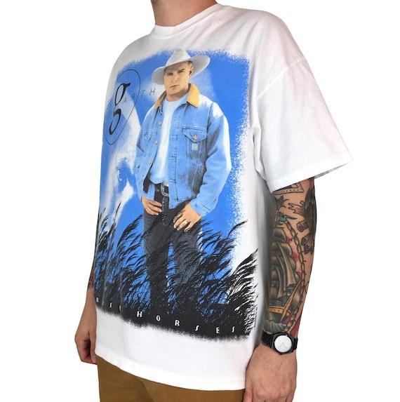 Vintage 90s 1996 96 Garth Brooks Fresh Horses World Tour single stitch country music band concert graphic tee t-shirt shirt - Size XL-XXL