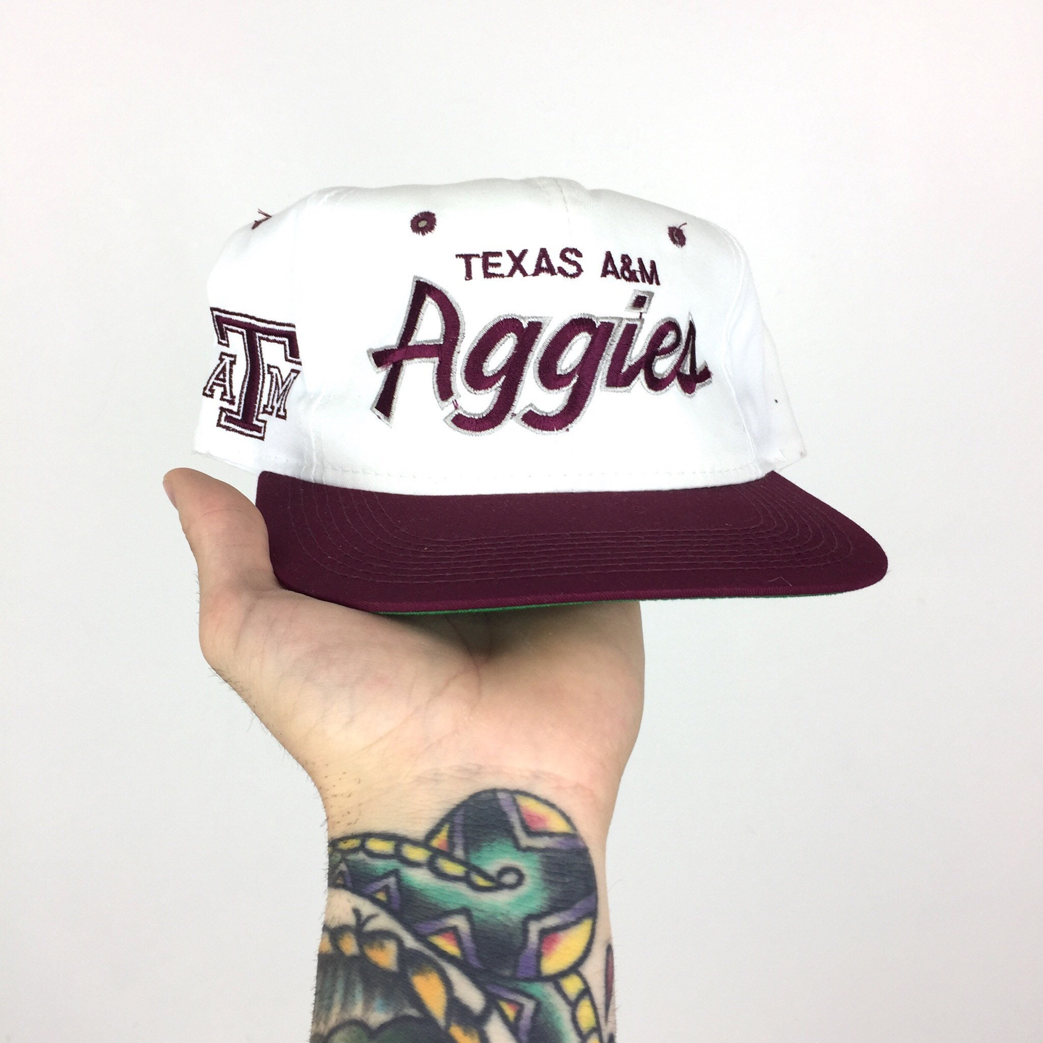 outlet store 03342 425a2 ... authentic rare vintage 90s ncaa tamu texas am university aggies twill  script college snapback hat 01941